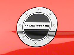 Scott Drake Competition Series Fuel Door with Mustang Logo; Silver and Black (15-21 All)