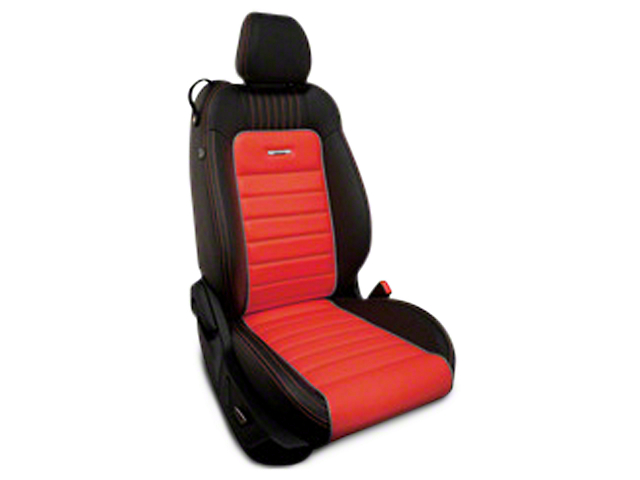 Roadwire Designer Series Leather Black Seat Covers - Red Stripe w/ Sterling Piping (15-18 All)