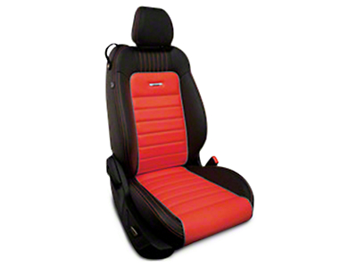 Roadwire Designer Series Leather Black Seat Covers - Red Stripe w/ Sterling Piping (15-17 All)