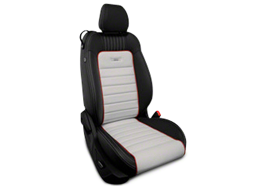 Roadwire Designer Series Leather Black Seat Covers - Sterling Stripe w/ Red Piping (15-17 All)