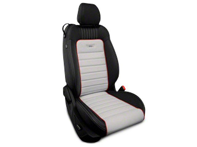 Roadwire Designer Series Leather Black Seat Covers - Sterling Stripe w/ Red Piping (15-19 All)