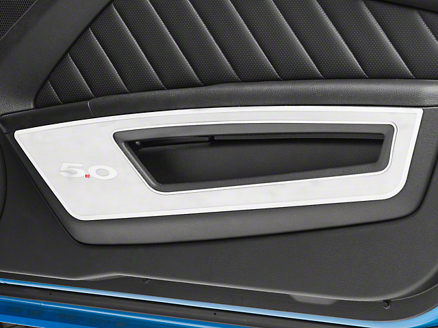 Modern Billet Door Guards with Polished 5.0 Lettering and Trim; Brushed (10-14 All)