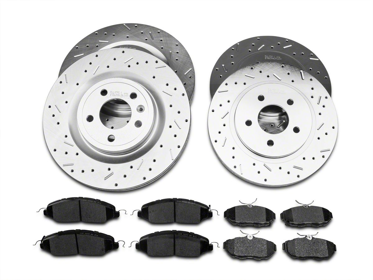 Front /& Rear Kit Performance Drilled /& Slotted Brake Rotors /& Ceramic Pads