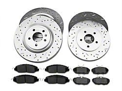 Xtreme Stop Precision Cross-Drilled and Slotted Brake Rotor and Ceramic Pad Kit; Front and Rear (11-14 GT)