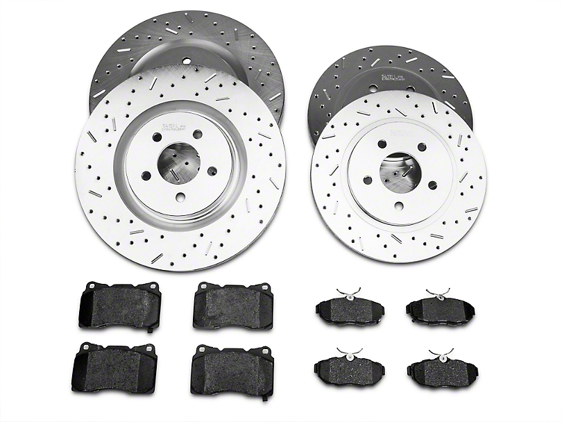 Xtreme Stop Precision Drilled and Slotted Brake Rotor and Ceramic Pad Kit; Front and Rear (11-14 GT Brembo; 12-13 BOSS 302; 07-12 GT500)