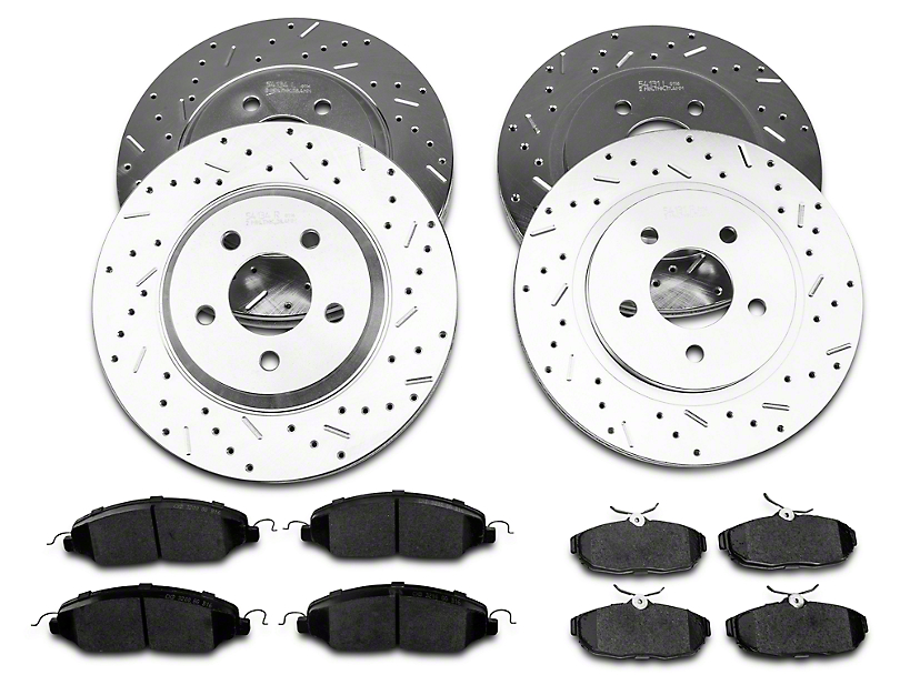 Xtreme Stop Precision Cross-Drilled & Slotted Brake Rotor & Ceramic Pad Kit - Front & Rear (05-10 GT)