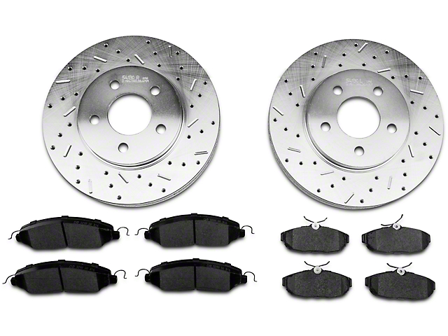 Xtreme Stop Precision Cross Drilled & Slotted Rotor w/ Ceramic Brake Pad Kit - Front & Rear (05-10 V6)