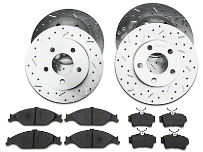 Xtreme Stop Precision Drilled & Slotted Rotor w/ Ceramic Brake Pad Kit - Front & Rear (99-04 GT, V6)