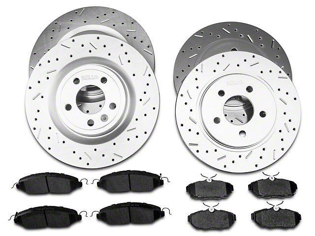 Xtreme Stop Precision Cross-Drilled & Slotted Rotor w/ Carbon Graphite Brake Pad Kit - Front & Rear (11-14 GT)