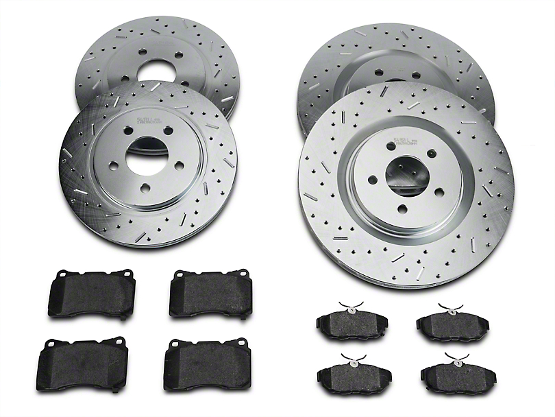 Xtreme Stop Precision Cross-Drilled & Slotted Rotor w/ Carbon Graphite Brake Pad Kit - Front & Rear (11-14 GT Brembo; 12-13 BOSS 302; 07-12 GT500)