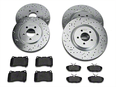 Xtreme Stop Precision Cross-Drilled & Slotted Rotor w/ Carbon Graphite Brake Pad Kit - Front & Rear (11-14 GT Brembo; 12-13 Boss; 07-12 GT500)