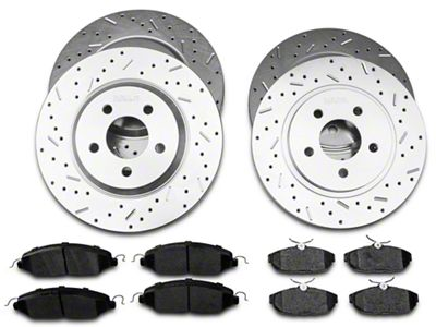 Xtreme Stop Precision Cross-Drilled & Slotted Rotor w/ Carbon Graphite Brake Pad Kit - Front & Rear (05-10 GT)