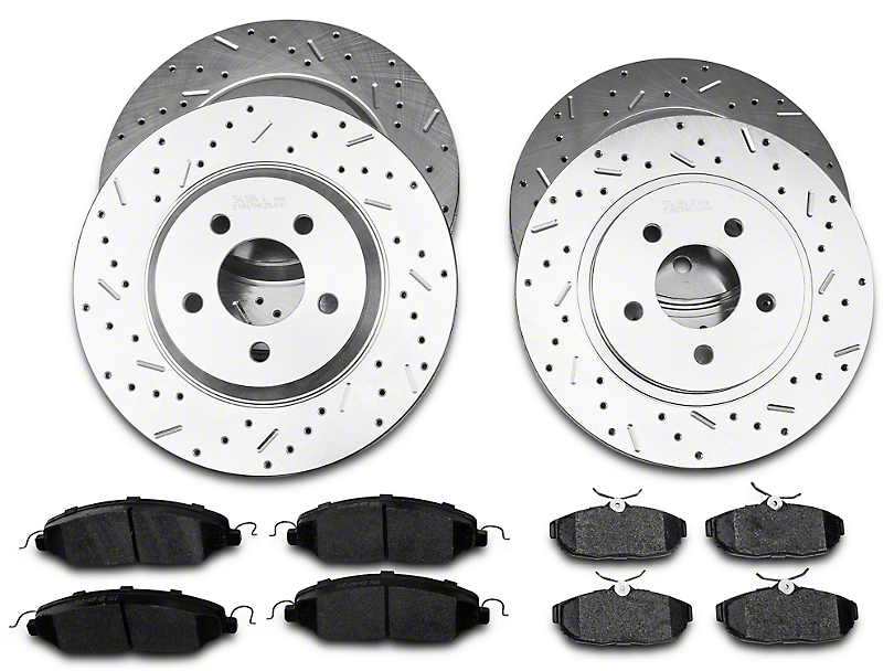 Xtreme Stop Precision Cross-Drilled and Slotted Brake Rotor and Carbon Graphite Pad Kit; Front and Rear (05-10 GT)