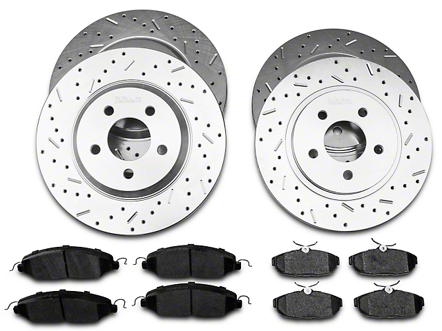 Xtreme Stop Precision Cross-Drilled & Slotted Brake Rotor & Carbon Graphite Pad Kit - Front & Rear (05-10 GT)