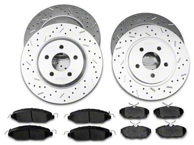 FRONTS Power Sport Cross Drilled Slotted Brake Rotors and Ceramic Brake Pads Kit 81068