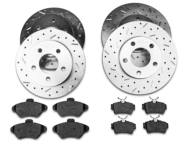 Xtreme Stop Precision Cross-Drilled & Slotted Brake Rotor & Carbon Graphite Pad Kit - Front & Rear (94-98 GT, V6)