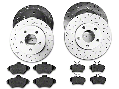 Xtreme Stop Precision Cross-Drilled & Slotted Rotor w/ Carbon Graphite Brake Pad Kit - Front & Rear (94-98 GT, V6)
