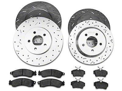 Xtreme Stop Precision Cross-Drilled & Slotted Rotor w/ Carbon Graphite Brake Pad Kit - Front & Rear (94-04 Cobra, Bullitt, Mach 1)
