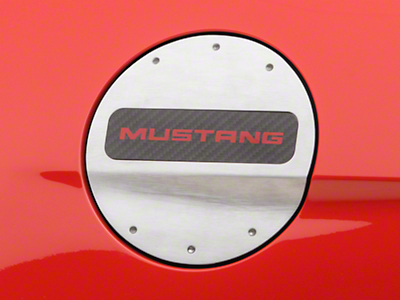 Defenderworx Fuel Door w/ Red Mustang Lettering - Brushed (15-18 All)