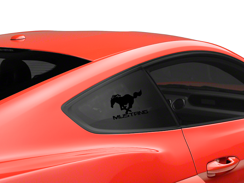 American Muscle Graphics Running Pony Quarter Window Decal w/ Mustang Lettering - Black (05-18 All)