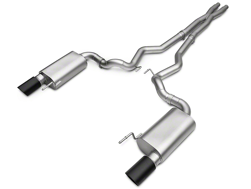 LTH Mid-Pipe Exhaust and Axle-Back Exhaust System with Black Tips (15-17 GT)