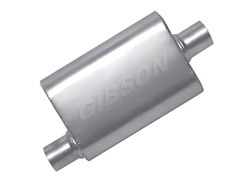 Gibson MWA Superflow Offset/Offset Oval Muffler - Stainless 2.5 in. (79-04 All, Excluding 99-04 Cobra)