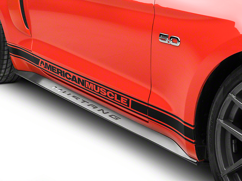 Modern Billet Brushed Stainless Side Skirt Overlays w/ Polished Mustang Letters (15-18 All)