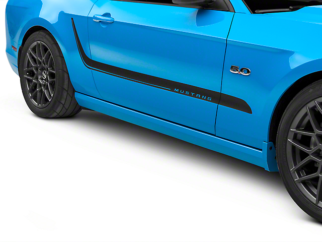 American Muscle Graphics Matte Black Side Stripes w/ Mustang Lettering (10-14 All)