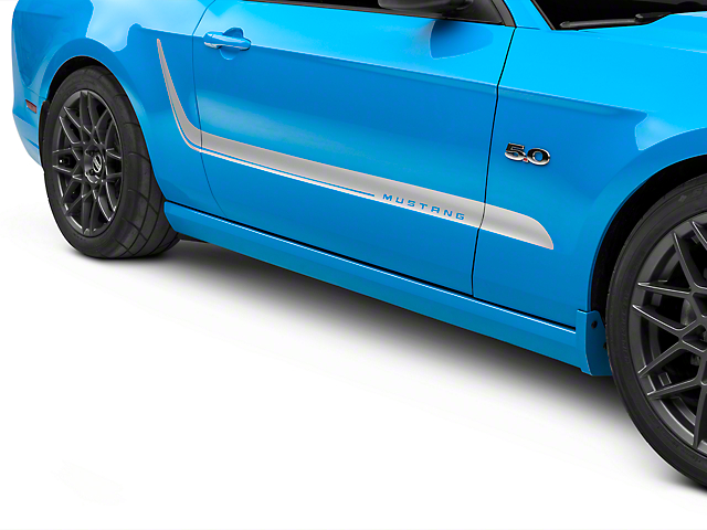 American Muscle Graphics Silver Side Stripes w/ Mustang Lettering (10-14 All)