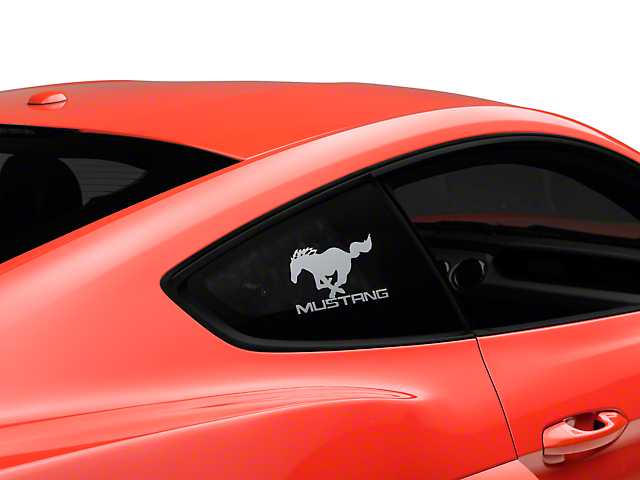 American Muscle Graphics Running Pony Quarter Window Decal w/ Mustang Lettering - Frosted (05-18 All)