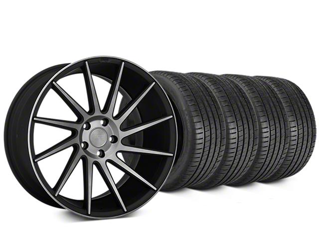 Staggered Niche Surge Double Dark Wheel & Michelin Pilot Super Sport Tire Kit - 20 in. - 2 Rear Options (05-14 All)