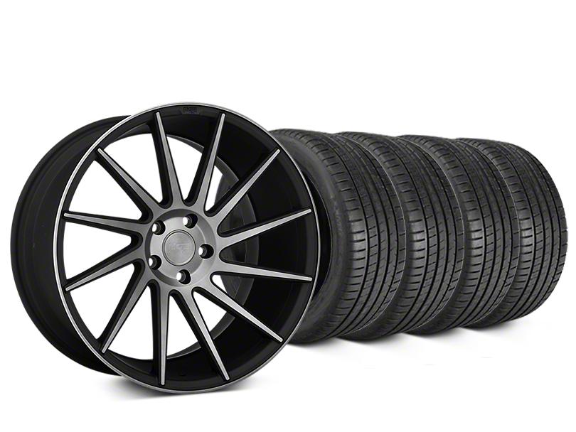 Staggered Niche Surge Double Dark Wheel & Michelin Pilot Super Sport Tire Kit - 20 in. - 2 Rear Options (15-18 All)