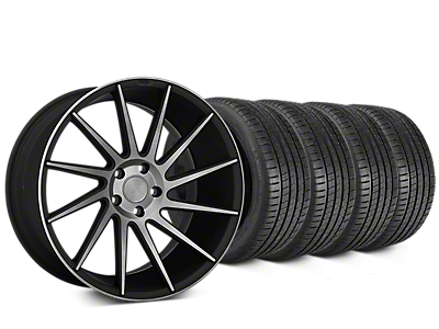 Staggered Niche Surge Double Dark Wheel & Michelin Pilot Super Sport Tire Kit - 20 in. - 2 Rear Options (15-17 All)