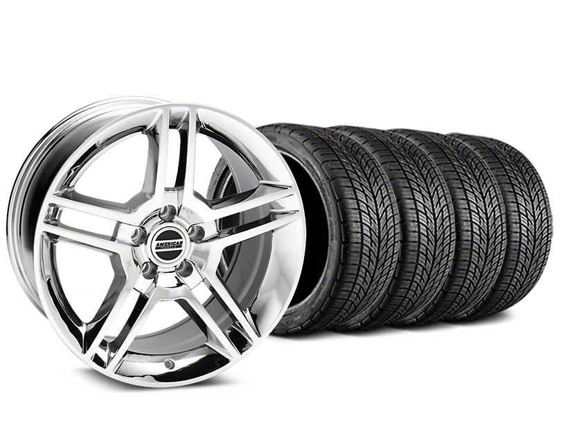 2010 GT500 Style Chrome Wheel and BF Goodrich G-FORCE COMP 2 Tire Kit; 19x8.5 (05-14 All)