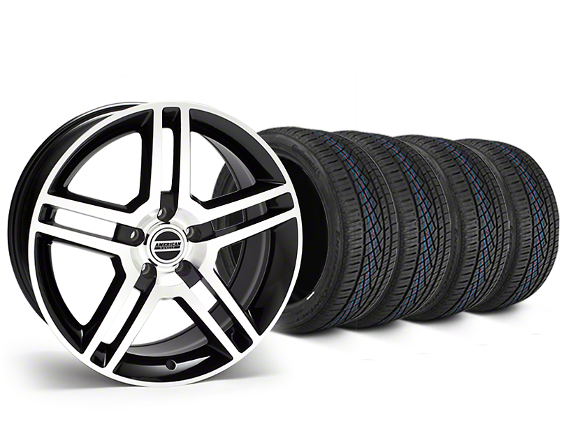 2010 GT500 Style Black Machined Wheel & Continental Extreme Contact DWS06 Tire Kit - 19x8.5 (05-14 All)