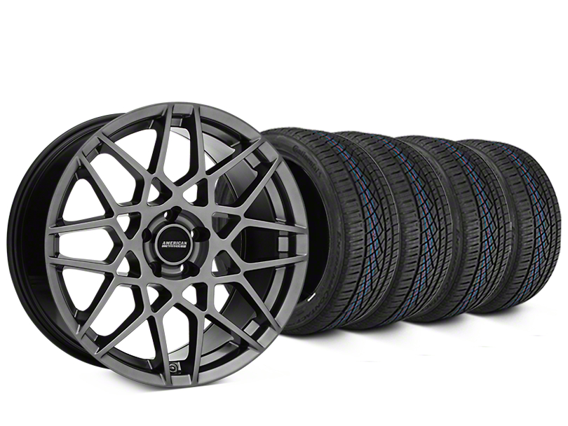 2013 GT500 Style Hyper Dark Wheel & Continental Extreme Contact DWS06 Tire Kit - 19x8.5 (05-14 All)