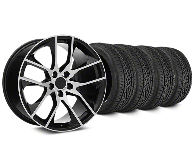 Magnetic Style Black Machined Wheel and Continental Extreme Contact DWS06 Tire Kit; 19x8.5 (05-14 All)
