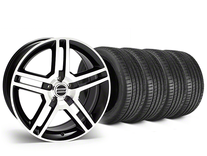 2010 GT500 Style Black Machined Wheel & Michelin Pilot Super Sport Tire Kit - 19x8.5 (05-14 All)
