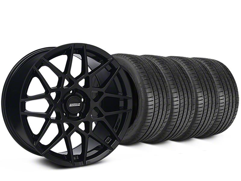 2013 GT500 Style Gloss Black Wheel & Michelin Pilot Super Sport Tire Kit - 19x8.5 (05-14 All)