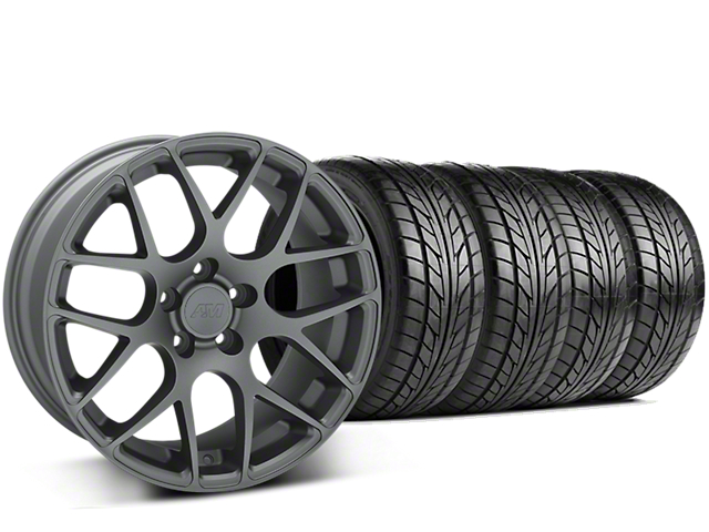 AMR Charcoal Wheel and NITTO NT555 G2 Tire Kit; 19x8.5 (15-20 GT, EcoBoost, V6)