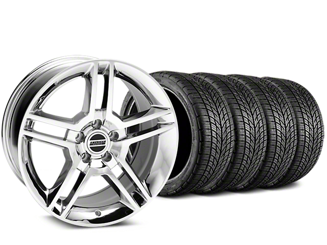 2010 GT500 Style Chrome Wheel and BF Goodrich G-FORCE COMP 2 Tire Kit; 19x8.5 (15-20 GT, EcoBoost, V6)