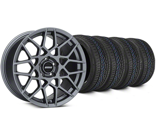 2013 GT500 Style Charcoal Wheel & Continental Extreme Contact DWS06 Tire Kit - 19x8.5 (15-18 GT, EcoBoost, V6)