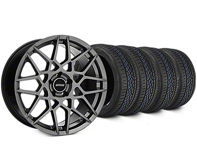 2013 GT500 Style Hyper Dark Wheel & Continental Extreme Contact DWS06 Tire Kit - 19x8.5 (15-17 All)