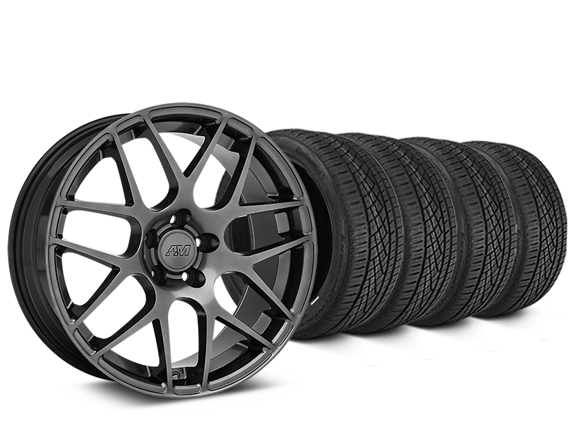 AMR Dark Stainless Wheel & Continental Extreme Contact DWS06 Tire Kit - 19x8.5 (15-18 GT, EcoBoost, V6)