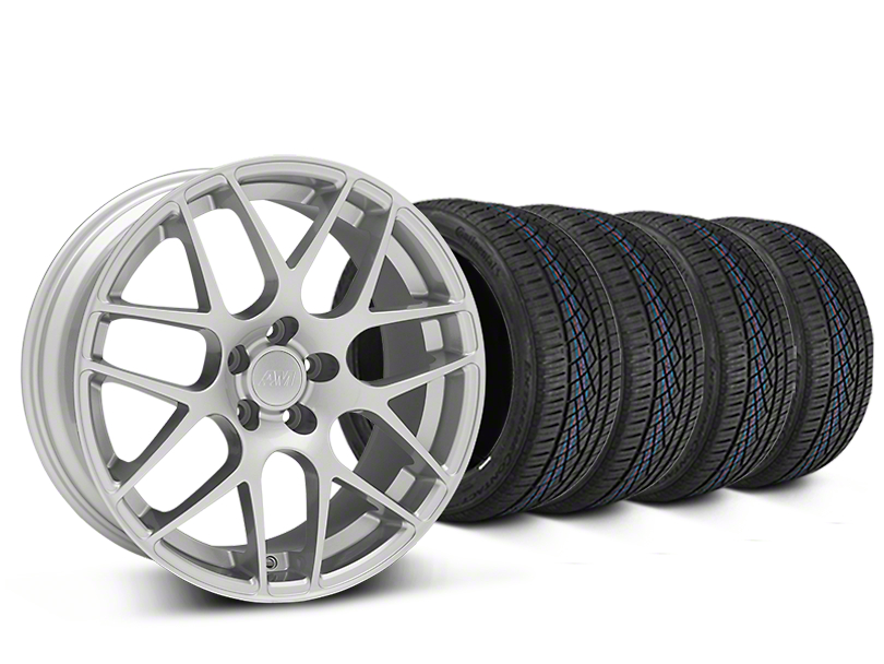 AMR Silver Wheel & Continental Extreme Contact DWS06 Tire Kit - 19x8.5 (15-19 GT, EcoBoost, V6)