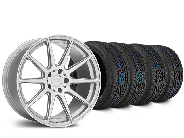 Niche Essen Silver Wheel and Continental Extreme Contact DWS06 Tire Kit; 19x8.5 (15-20 GT, EcoBoost, V6)