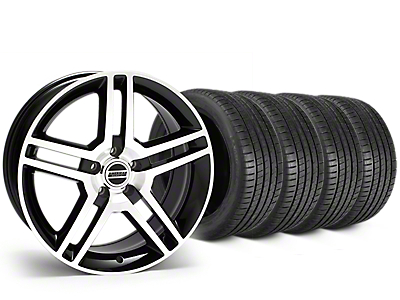 2010 GT500 Style Black Machined Wheel & Michelin Pilot Super Sport Tire Kit - 19x8.5 (15-17 GT, EcoBoost, V6)
