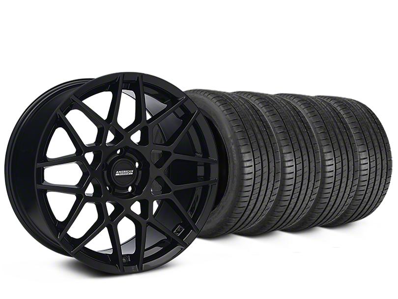 2013 GT500 Style Gloss Black Wheel & Michelin Pilot Super Sport Tire Kit - 20x8.5 (15-19 GT, EcoBoost, V6)
