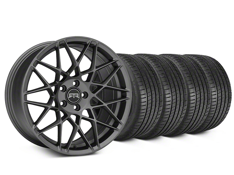 RTR Tech Mesh Charcoal Wheel & Michelin Pilot Super Sport Tire Kit - 20x9.5 (15-18 GT, EcoBoost, V6)