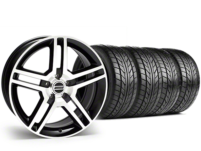 Staggered 2010 GT500 Style Black Machined Wheel & NITTO NT555 G2 Tire Kit - 19 in. - 3 Rear Options (05-14 All)